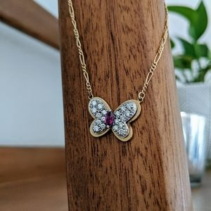14k Yellow Gold Ruby and Diamond Butterfly Necklac